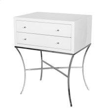 Two Drawer Side Table In White Lacquer With Nickel BASE.
