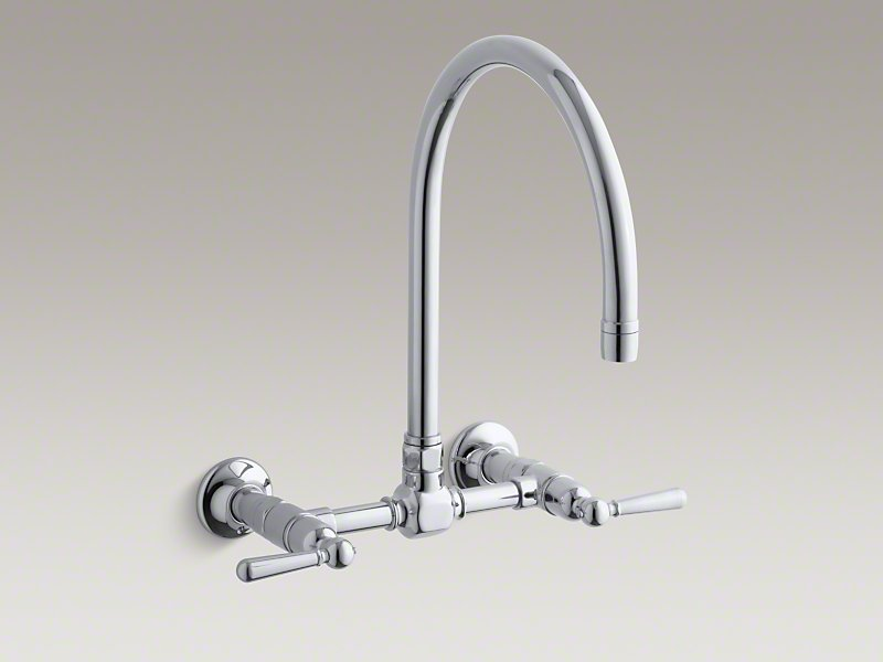 Polished Stainless Hirise Two Hole Wall Mount Bridge Kitchen Sink Faucet  With 13