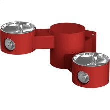 Elkay Outdoor Drinking Fountain Wall Mount, Bi-Level, Non-Filtered Non-Refrigerated, Red