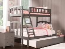Richland Bunk Bed Twin over Full with Urban Trundle Bed in Atlantic Grey