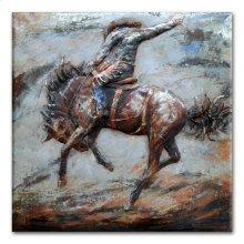 Bronco Busting 48x48 Metal Art