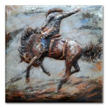 Bronco Busting 48x48 Metal Art