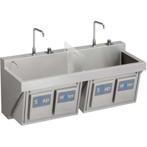"""Elkay Stainless Steel 60"""" x 23"""" x 26"""", Wall Hung Double Station Surgeon Scrub Sink Kit"""