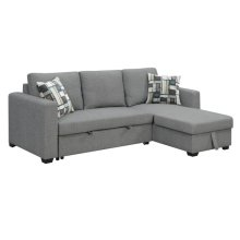 Sofa Chaise w/ Storage Ottoman and Pop-Up Sleeper