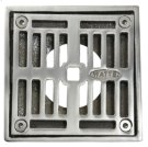 """4"""" Square Solid Nickel Bronze Plated Grid Shower Drain - Brushed Nickel Product Image"""