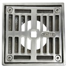 """4"""" Square Solid Nickel Bronze Plated Grid Shower Drain - Brushed Nickel"""