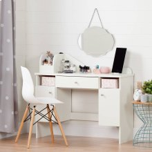 Makeup Desk with Drawer - Pure White and Pink