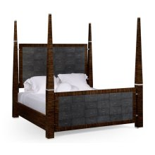 Faux Macassar & Anthracite Faux Shagreen US King Bed