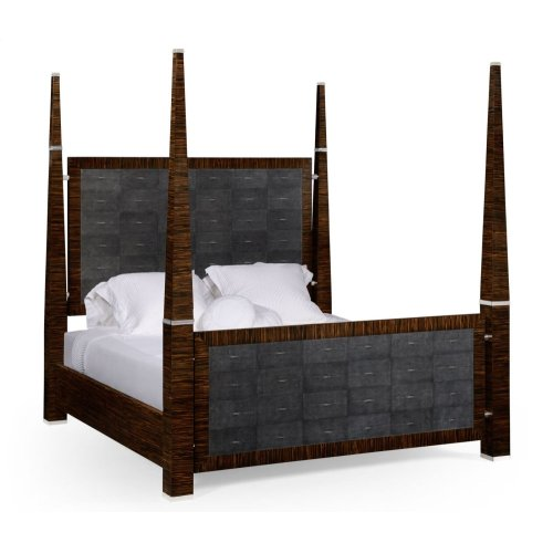 Faux Macassar & Anthracite Faux Shagreen US Queen Bed