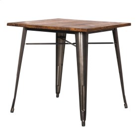 Metropolis KD Metal Dining Table Wood Top, Gunmetal