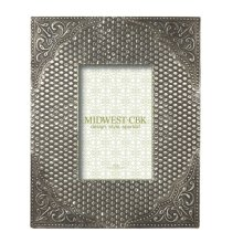Antique Silver Stamped Floral 4x6 Frame.