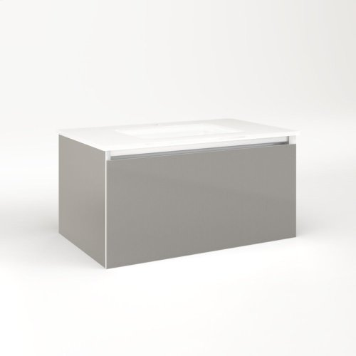 "Cartesian 30-1/8"" X 15"" X 18-3/4"" Single Drawer Vanity In Silver Screen With Slow-close Full Drawer and Night Light In 5000k Temperature (cool Light)"