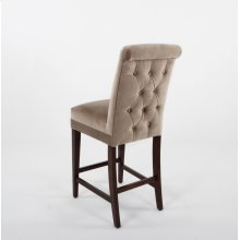 "Button tufted roll back with plain inside back. 24"" barstools have a seat height of 26"" when measured"