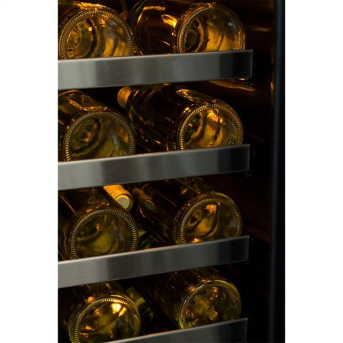 "24"" High Efficiency Single Zone Wine Cellar - Stainless Frame, Glass Door With Lock - Integrated Left Hinge, Professional Handle"
