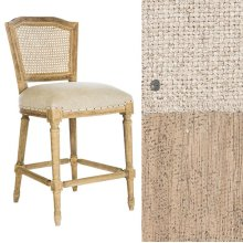 Barnwood Ethan Counter Stool in Linen/Cane Back