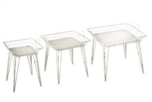 3 pc. set. Distressed White Square Basket Side Table. (3 pc. set)