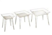 3 pc. set. Distressed White Square Basket Side Table. (3 pc. set)