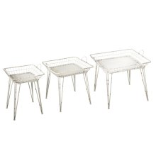 Distressed White Square Basket Side Table (3 pc. set)