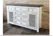 6 Drawe & 2 Doors Console White & Stone Finish Product Image