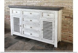6 Drawe & 2 Doors Console White & Stone Finish Product Image