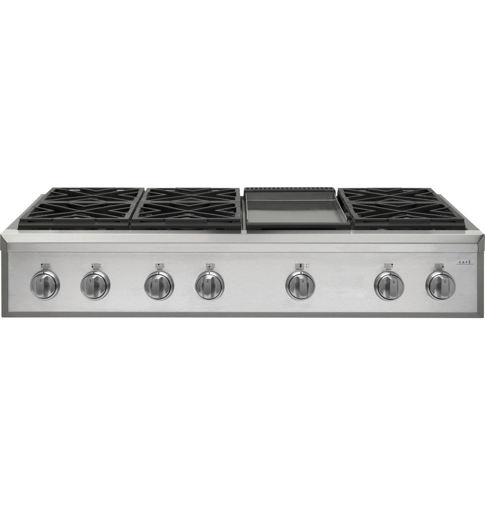 """Caf(eback) 48"""" Professional Gas Rangetop with 6 Burners and Griddle (Natural Gas)  STAINLESS STEEL"""