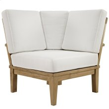 Marina Outdoor Patio Teak Corner Sofa in Natural White