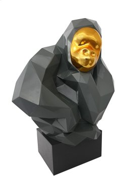 Pondering Ape Large Sculpture - Grey and Gold Product Image