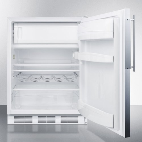 Built-in Undercounter Refrigerator-freezer for Residential Use, Cycle Defrost With A Deluxe Interior, Ss Door Frame for Slide-in Panels, and White Cabinet