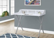 "COMPUTER DESK - 48""L / WHITE / SILVER METAL"