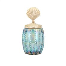 Shell Lidded Medium Decorative Canister