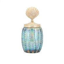 Shell Lidded Medium Decorative Canister