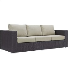 Convene Outdoor Patio Sofa in Espresso Beige