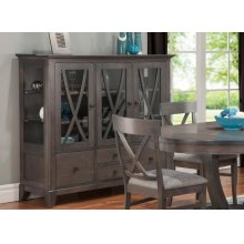 Florence China Cabinet w/3 Glass Doors & 4/Dwrs & 2/Glass Shelves & Glass Gables & LED Lighting
