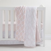 3-Piece Crib Bedding Set and Trellis Pattern Throw - Pink and Gray