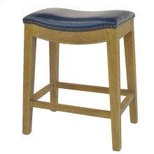 Elmo Bonded Leather Counter Stool Weathered Smoke Legs, Vintage Blue