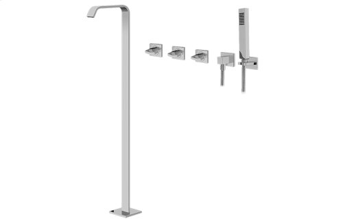 Targa Floor-Mounted Tub Filler w/Wall-Mounted Handshower & Diverter