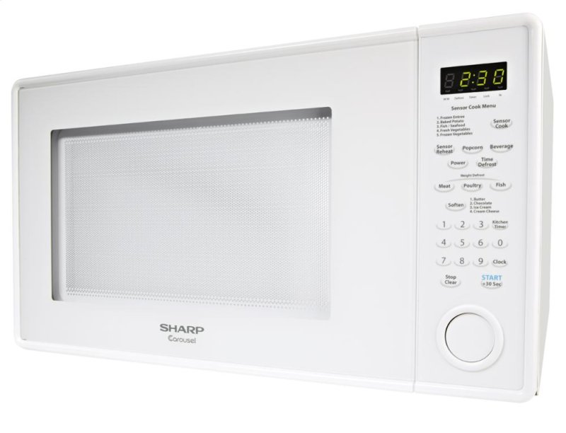 1 8 Cu Ft 1100w Sharp White Carousel Countertop Microwave Oven R 559yw