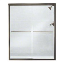 "Finesse™ Frameless Sliding Shower Door - Height 70-1/16"", Max. Opening 59-5/8"" - Deep Bronze with Smooth Clear Glass Texture"