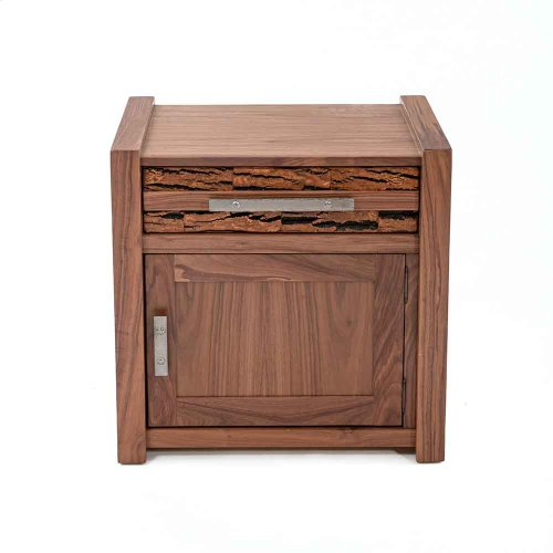 Riley 1 Door 1 Drawer Nightstand With Bark Tile-hinged Right