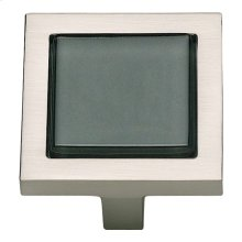 Spa Black Square Knob 1 3/8 Inch - Brushed Nickel