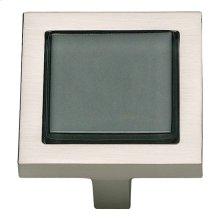Spa Black Square Knob 1 3/8 Inch - Brushed Nickel