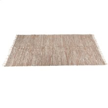 Beige Leather Chindi 5'x8' Rug (Each One Will Vary).