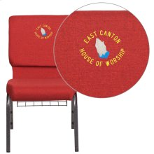 Embroidered HERCULES Series 18.5''W Red Fabric Church Chair with 4.25'' Thick Seat, Cup Book Rack - Silver Vein Frame