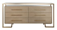 Rowen 6 Drawer Dresser - Weathered Oak / Brass