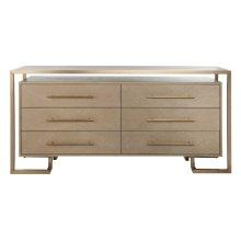 Rowen 6 Drawer Dresser - Weathered Oak / Brass