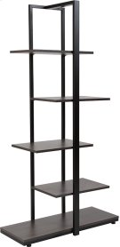 Homewood Collection 5 Tier Decorative Etagere Storage Display Unit Bookcase with Black Metal Frame in Driftwood Finish Product Image