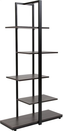 Homewood Collection Driftwood Finish 5-Tier Decorative Shelf with Black Metal Frame