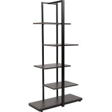 Homewood Collection 5 Tier Decorative Etagere Storage Display Unit Bookcase with Black Metal Frame in Driftwood Finish