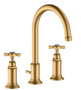 Brushed Brass 3-hole basin mixer 180 with cross handles and pop-up waste set