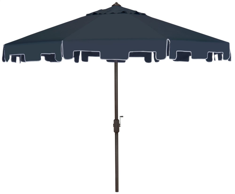 Zimmerman 9 Ft Crank Market Umbrella With Flap - Navy